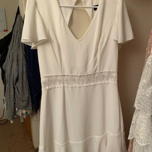 White capped shoulder dress